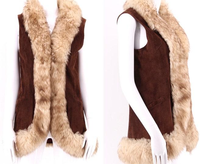 70s suede shearling penny lane vest / vintage 1970s Woodstock era fur trim vest jacket S-M