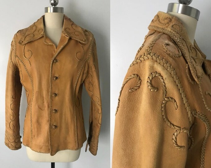 70s NORTH BEACH Leather jacket / whip stitched tan buckskin vintage 1970s jacket as found size 36