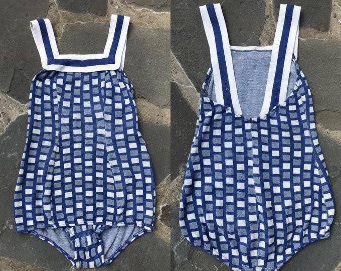 30s CATALINA girls knit swimsuit sz 12 / vintage 1930s blue white Childs bathing suit swimsuit 1940s