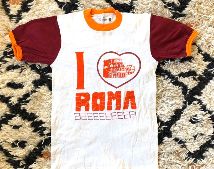 """70s red & white I LOVE ROMA cotton graphic logo ringer t shirt / vintage 1970s Italy shirt size S 32"""""""