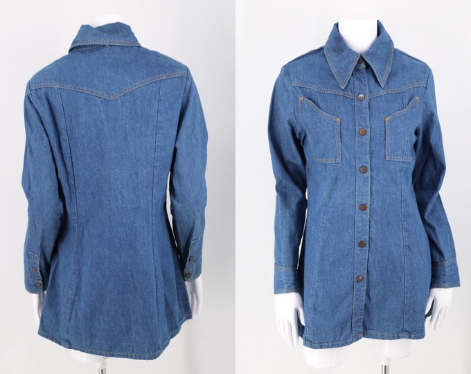 70s LANDLUBBER tailored denim snap shirt / vintage 1970s nipped in tunic blouse top sz L