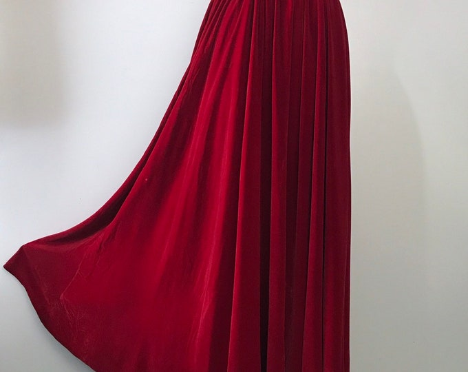30s MAINBOCHER lipstick red velvet evening skirt