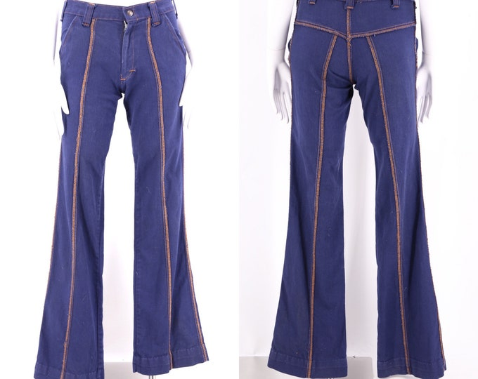 70s seamed bell bottoms jeans 28  / vintage 1970s dark denim stitched flares pants 6