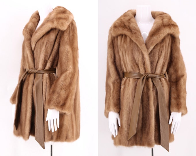 70s glossy fawn mink belted coat / vintage 1970s hip length fur coat w/ leather sash M-L