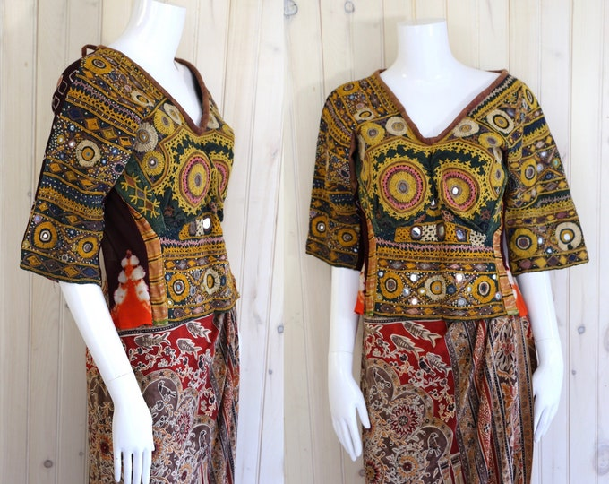antique Indian mirrored top / vintage 1920s 30s handmade ethnic textile top fabric blouse sz S