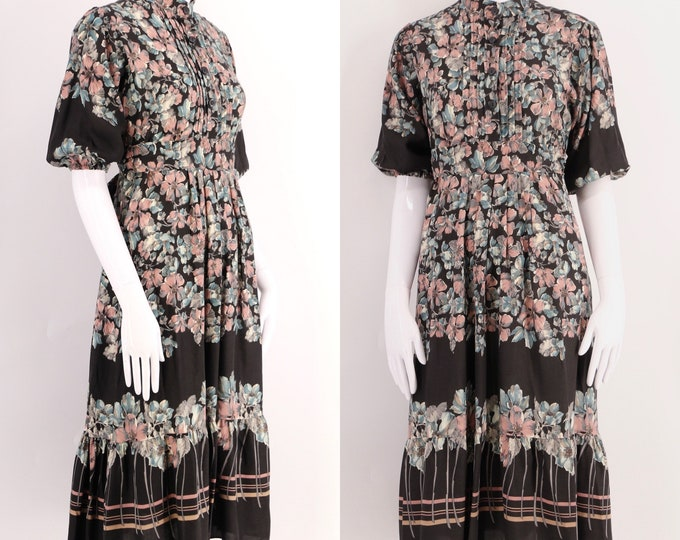 70s RAGTIME black floral rayon dress / vintage 1970s boho peasant dress sz M-L
