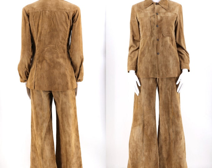70s tan washed corduroy bell bottoms pants set / 1970s vintage high waisted wide leg bells and snap shirt  size 6 24""