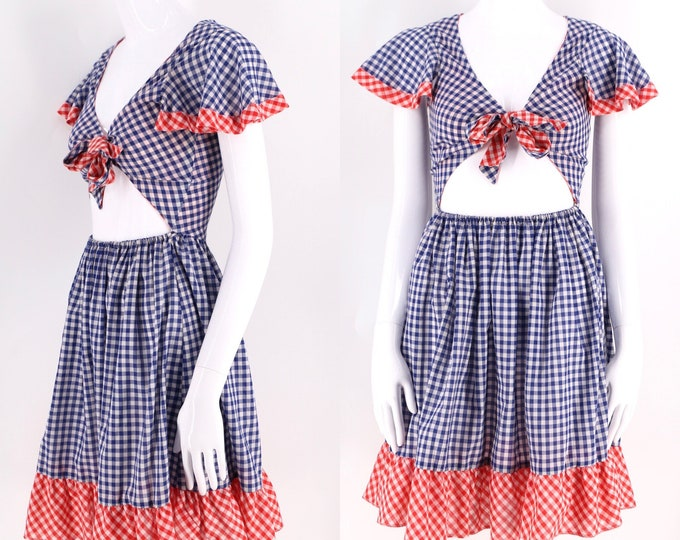 60s cotton gingam tie front picnic dress sz S / vintage 1960s John Meyer red white blue summer July 4th party dress