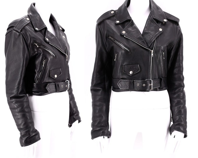 vintage black motorcycle jacket sz M / 1980s womens leather biker jacket soft with zippers TEAM RACING