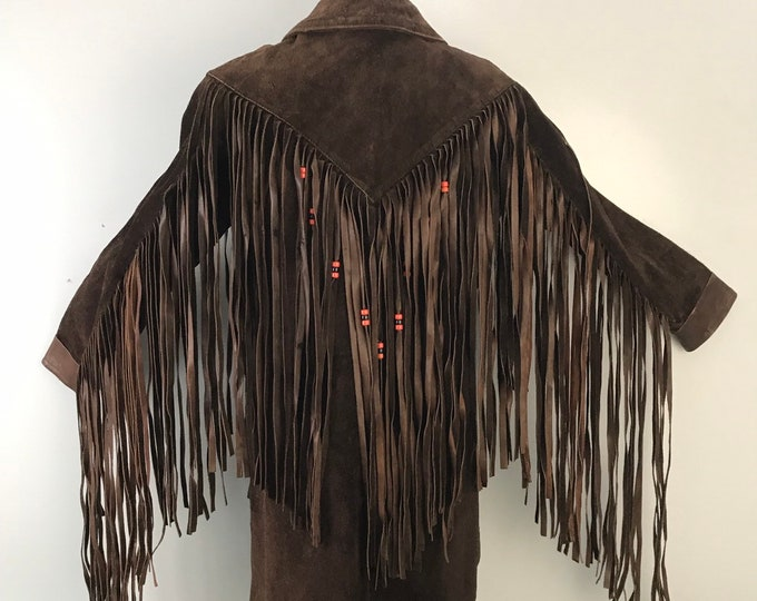 70s ROCK & ROLL brown suede leather ultimate beaded fringe festival jacket unisex 1970s vintage