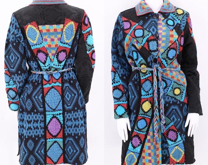 reserved on layaway 90s Sandy Starkman Patchwork mixed media trench coat / vintage 1990s crocheted print tie coat sz 6