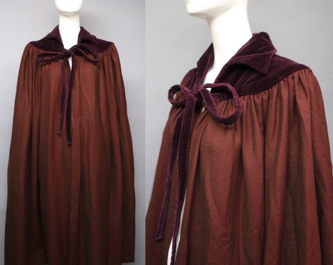 70s YSL Russian Collection Yves Saint Laurent burgandy wool velvet tie neck CAPE 34 4 RARE vintage 1970s