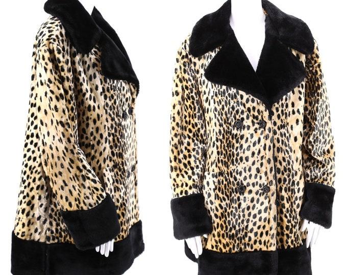 50s 60s vintage leopard print faux fur coat XL  / vintage cheetah plush fur flared A line swing coat 1960s 50s size XL
