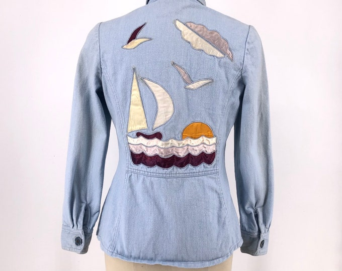 70s RONCELLI light denim satin embroidered jacket w/ sunsets and sailboats vintage 1970s 9/10 small