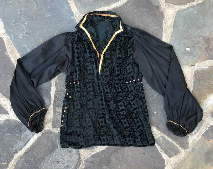 20s French devoré velvet Fortuny era peasant sleeve blouse
