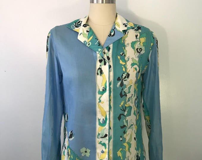 60s EMILIO PUCCI blue green signed print psychedelic print BLOUSE top vintage 1960s 12