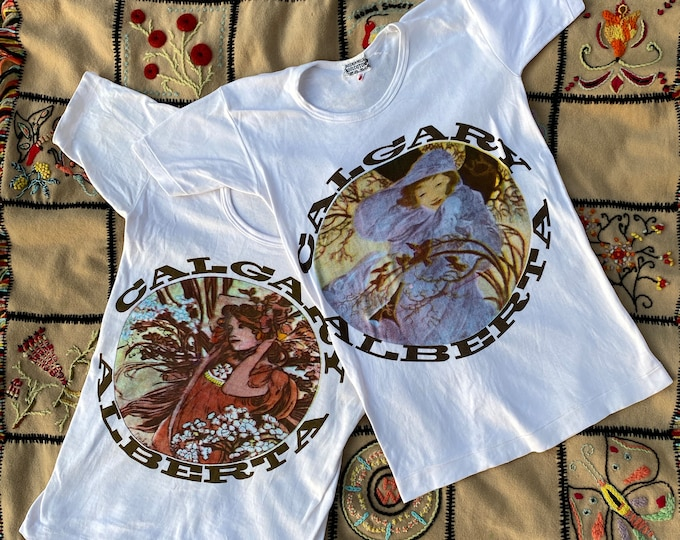 70s Art Nouveau novelty Calgary graphic T shirt M / 1970s cotton Alberta Canada soft tee