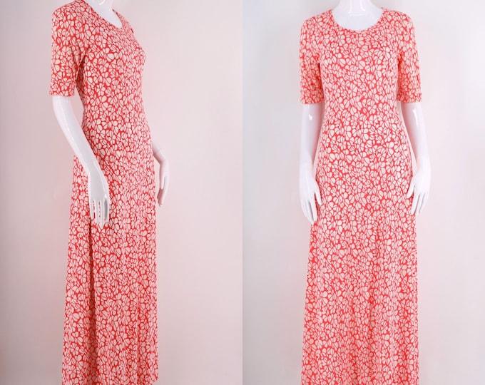 70s DVF RE 7 fuchsia white print nylon jersey maxi dress M / 1970s vintage Diane Von Furstenberg pink long dress size M