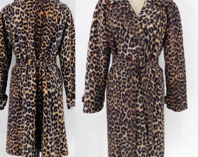 60s leopard print faux fur sash coat