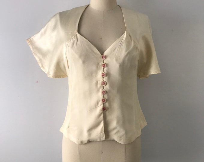 70s BUS STOP Lee Bender ivory satin & crepe 30s revival BLOUSE top 1970s vintage uk 12