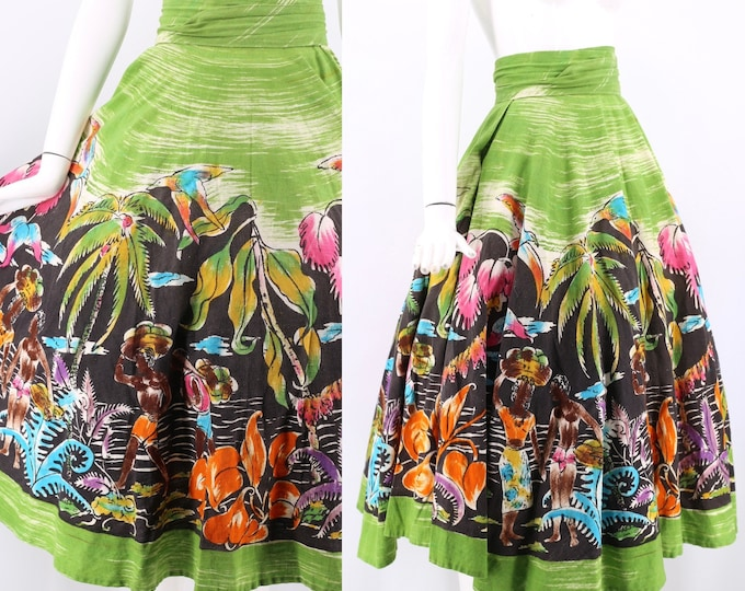 50s MEXICAN painted circle skirt / vintage 1950s hand painted full skirt / vintage wrap skirt tropical floral print M-L