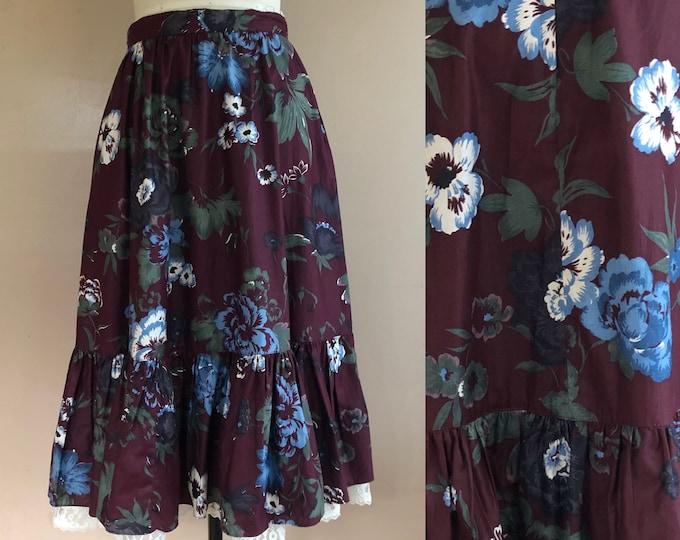 "70s GUNNE SAX Burgundy floral chintz cotton prairie peasant skirt / vintage 1970s Gunnies dress skirt 29"" waist"