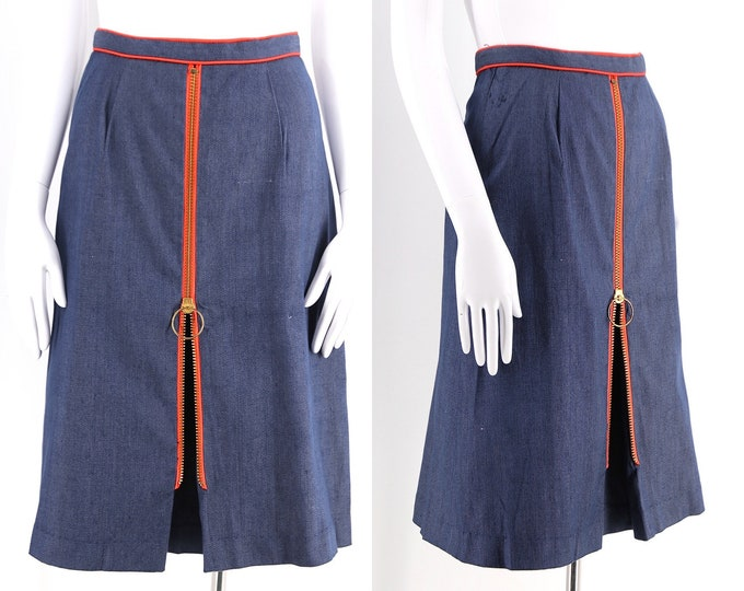 60s denim stretch Phil Rose A LINE skirt w/ O ring zipper pull / vintage 1960s mod brass zipper skirt 24""