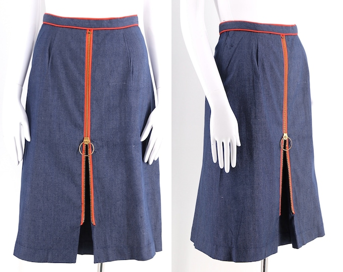"60s denim stretch Phil Rose A LINE skirt w/ O ring zipper pull / vintage 1960s mod brass zipper skirt 24"""
