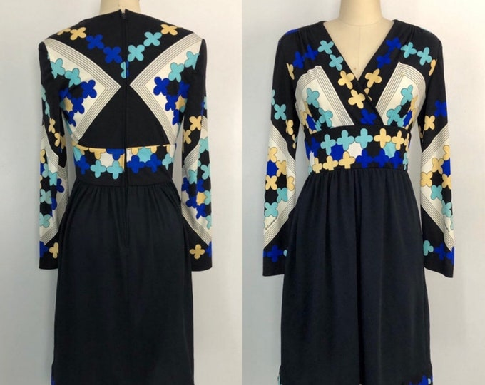 vintage 70s CASANDRA dress / signed print black psychedelic op art poly jersey DRESS 1970s 6