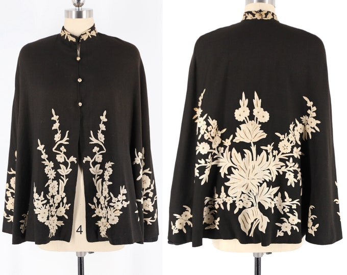 30s Kashmir embroidered cape / black wool 1930s cape floral sprig embroidery Indian vintage 1940s