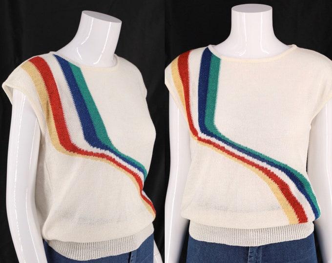 70s rainbow stripe metallic knit top sz S-M / vintage 1970s OUI white novelty print shirt
