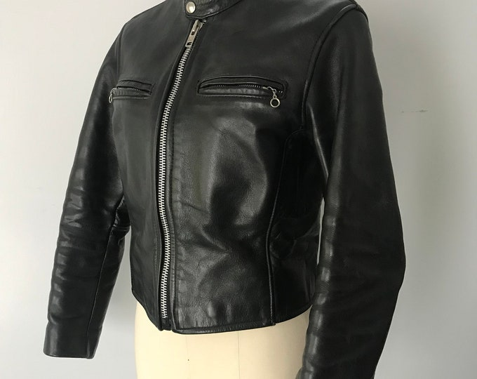 70s VANSON black leather motorcycle bike cafe racer vintage JACKET 1970s 34 4