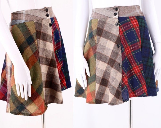 90s Antique Boutique Pieced Plaid Mini Skirt L / vintage 1990s plaid flannel grunge Clueless mini skirt sz L