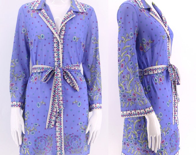 60s EMILIO PUCCI signed print Formfit Rogers mini dress / 1960s 70s vintage EPFR signed tunic top belted sz S