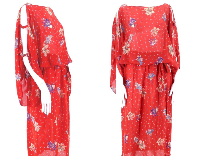 70s sheer floral Peasant Dress / vintage 1970s red draped summer open sleeves dress sz M