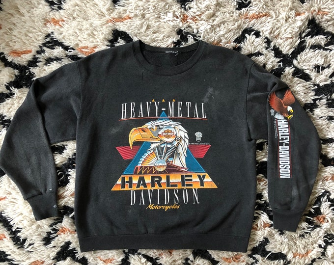 80s Harley Davidson Heavy Metal black vintage sweatshirt / 1988 motorcycle biker long sleeve print official license graphic t shirt M-L