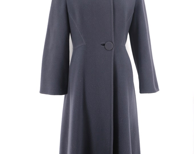 80s PAULINE TRIGERE slate gray wool architectural seamed coat