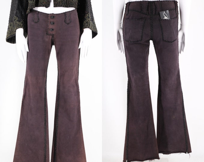 90s LOST ART black denim leather whip stitched rock & roll bell bottom low rise jeans pants vintage 1990s size 4