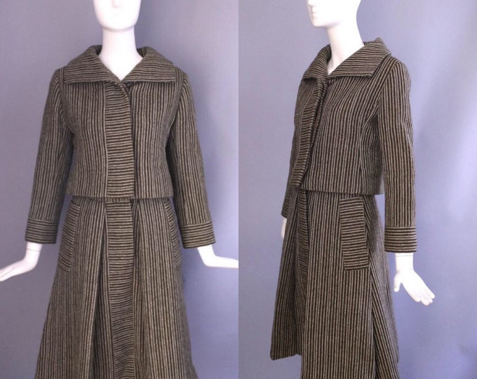 60s DONALD BROOKS brown white pinstripe A line skirt Suit vintage 1960s 1950s size 6