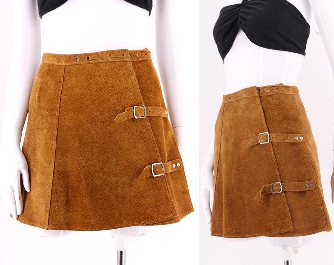 70s tan suede mini skirt sz S / vintage 1970s side buckle micro mini mod 60s 24' waist