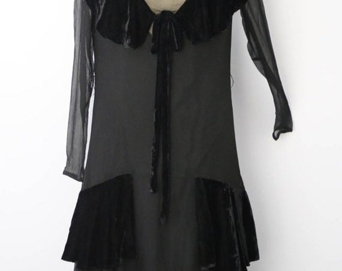 25% OFF 20s FLAPPER black silk chiffon draped velvet collar antique DRESS vintage 1920s