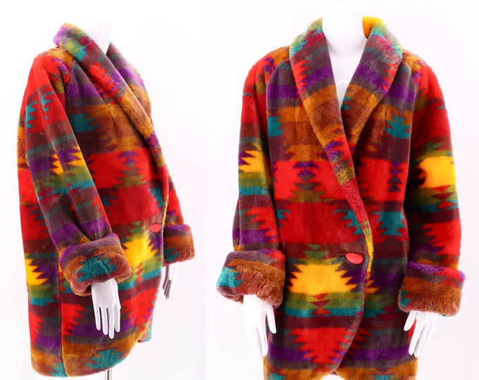 90s Southwest Print Plush Faux Fur Coat / vintage fake fur western coat jacket S-L