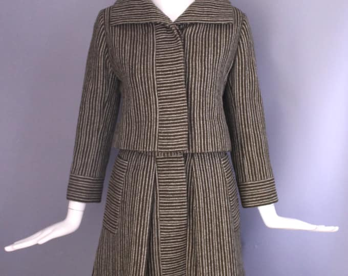 60s DONALD BROOKS brown white pinstripe A line skirt Suit vintage 1950s