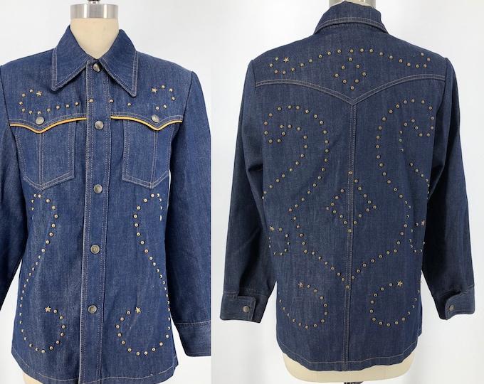70s custom studded dark denim jacket with brass stars unisex vintage 1970s 8 / M