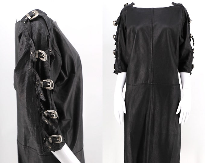 80s leather Western silver buckle tunic dress sz M / vintage 1980s black leather death rock sheath dress