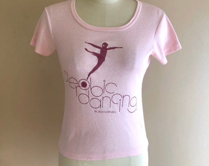 80s soft pink AEROBIC dancing t shirt sz s / vintage 1980s graphic novelty shrunken fit dancer shirt S