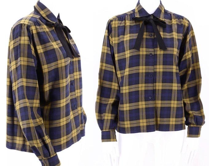 80s GUY LAROCHE plaid tie blouse 6 / vintage 1980s print blouse / 70s secretary blouse M