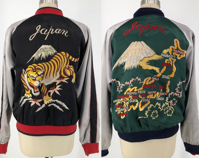 Vintage black TOYO TAILOR sukajan jacket rare souvenir reversible satin JAPAN tiger embroidered sukajan jacket M