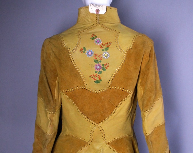 70s CHAR Santa Fe hand painted suede leather whip stitched boho hippy tie front JACKET coat m medium