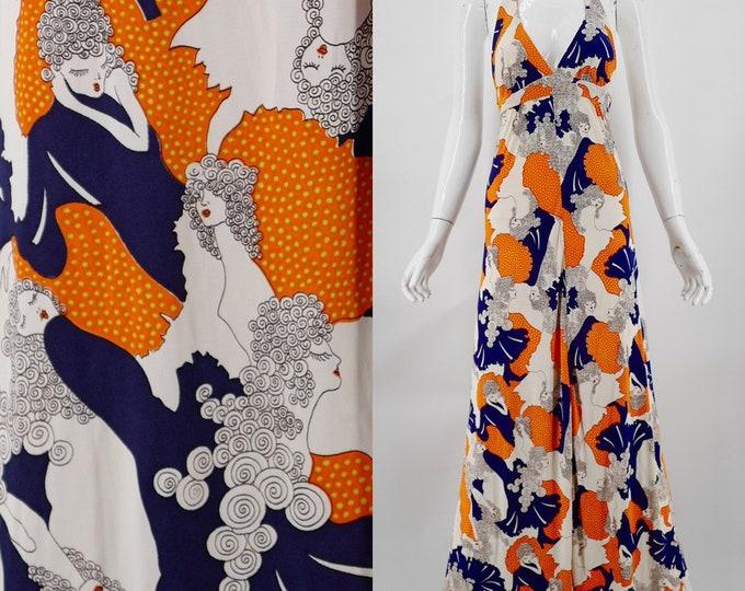 70s NOVELTY PRINT dolly femme nylon halter maxi dress vintage 1970s